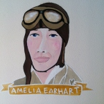 Talent Loves Company at Barbara Archer Gallery: 365 portraits by Lydia Walls - Amelia Earhart