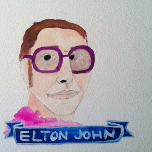 Talent Loves Company at Barbara Archer Gallery: 365 portraits by Lydia Walls - Elton John