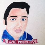 Talent Loves Company at Barbara Archer Gallery: 365 portraits by Lydia Walls - Elvis Presley