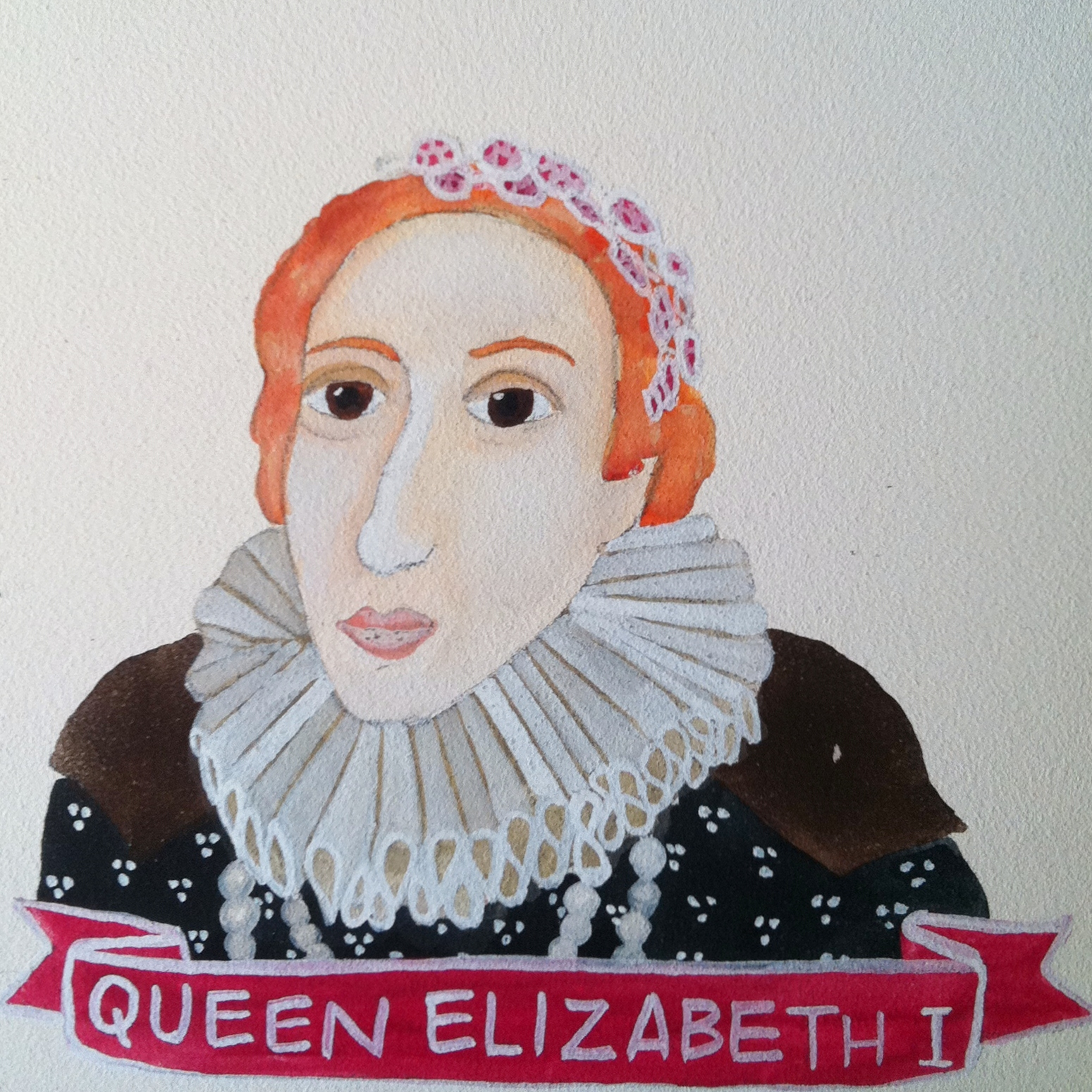 Talent Loves Company at Barbara Archer Gallery: 365 portraits by Lydia Walls - Queen Elizabeth I
