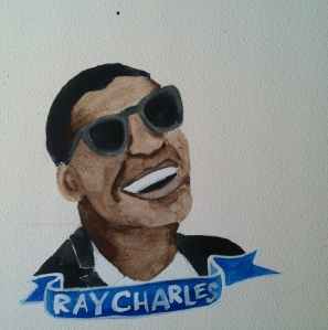 Talent Loves Company at Barbara Archer Gallery: 365 portraits by Lydia Walls - Ray Charles