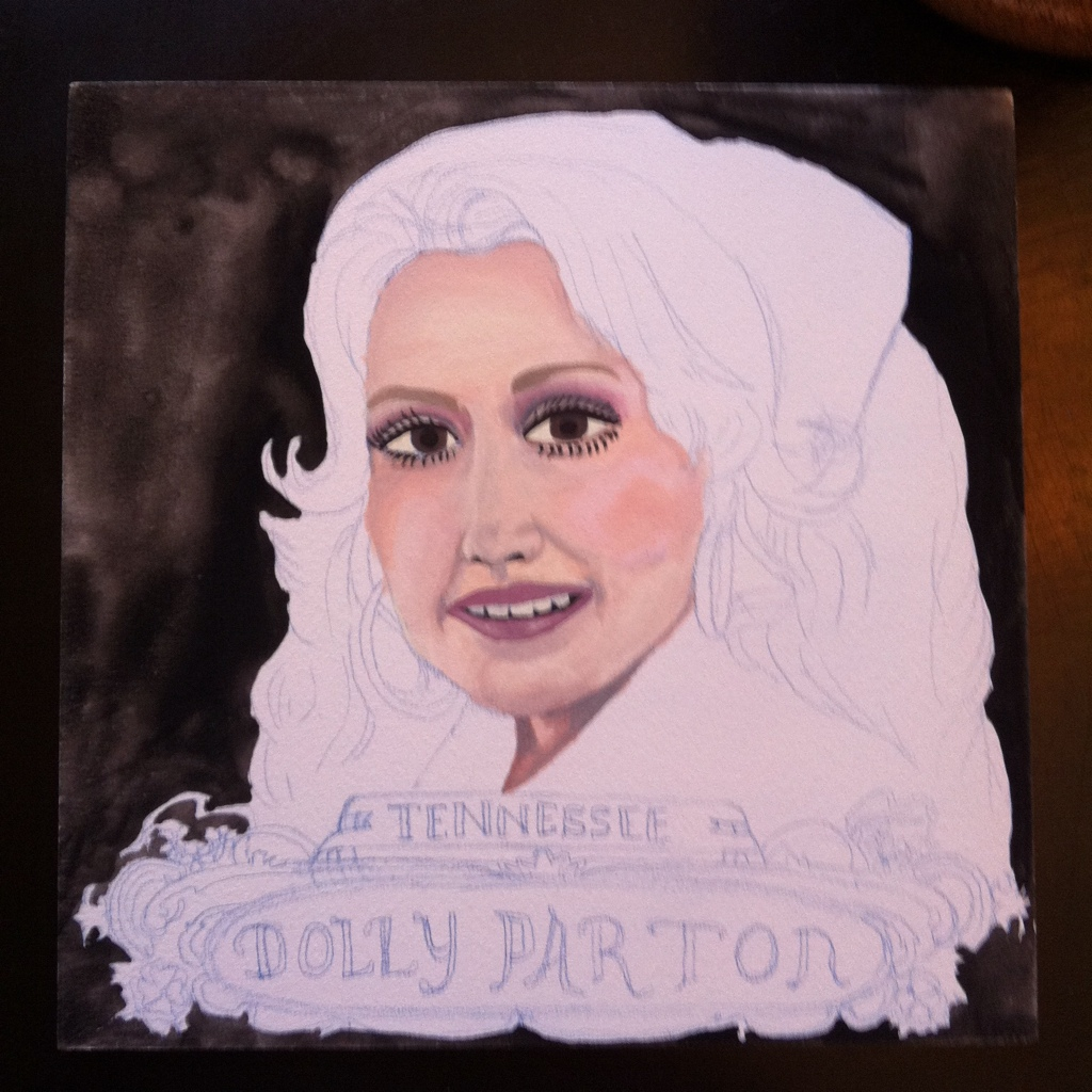 100 Southerners portraits by Lydia Walls: progress of Dolly Parton