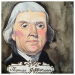 100 Southerners portraits by Lydia Walls: Thomas Jefferson