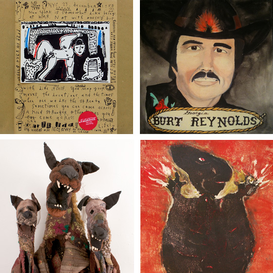 Left to Right: Benjamin Jones, Le Reveil Qui Sonne, 1985-1991, mixed media on paper; Lydia Walls, Burt Reynolds, 2013, gouache and graphite on panel; Linda Hall, Hollow Dogs, 2013, mixed media; & Joseph Kurhajec, Shaman, n.d., unique collograph