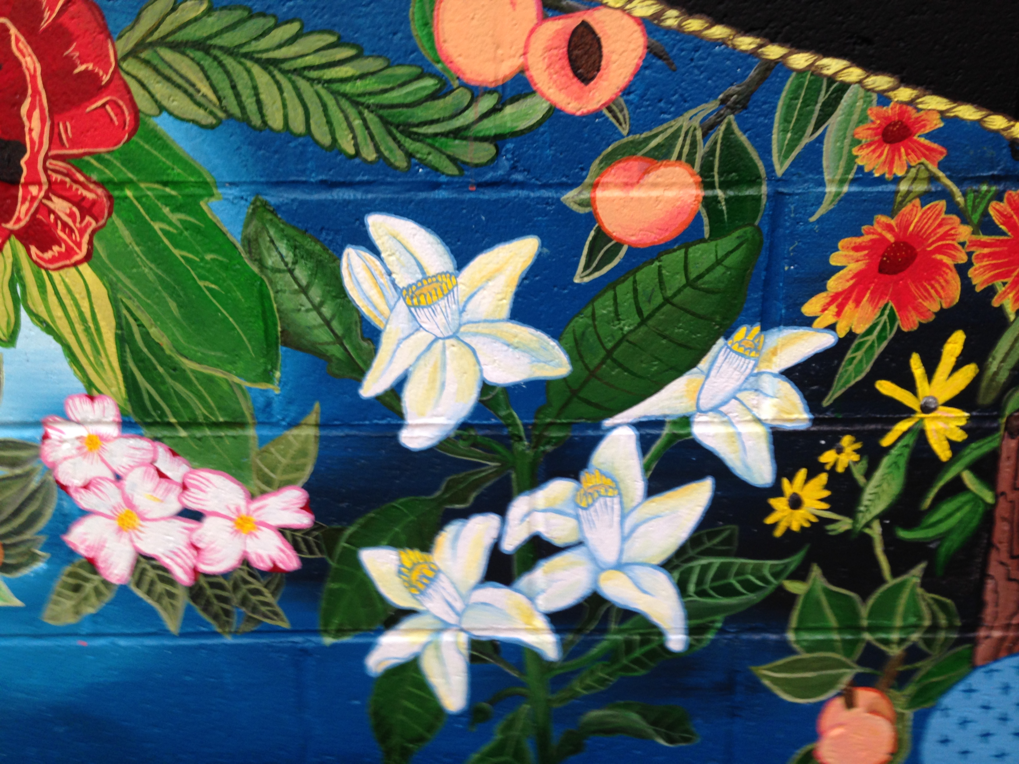 Mural at Ria's Bluebird by Lydia Walls: detail of flowers