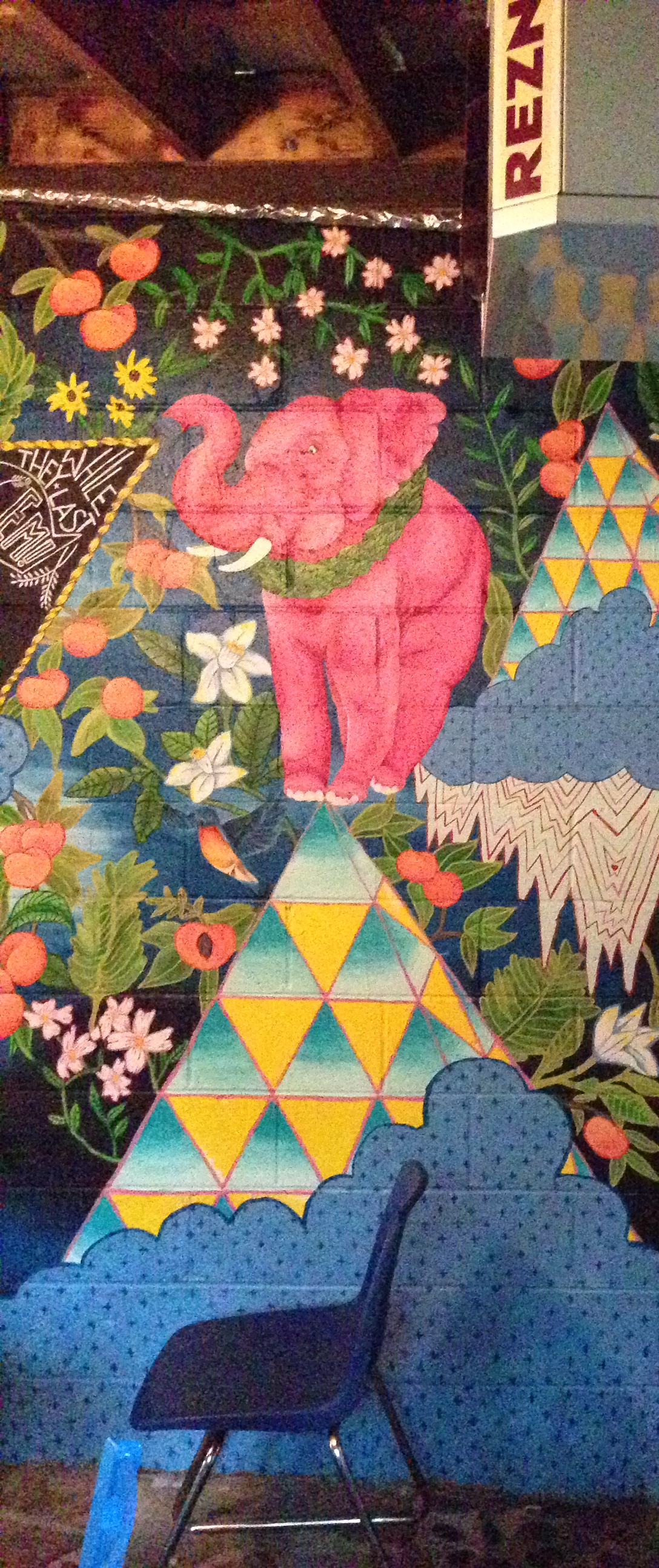 Mural at Ria's Bluebird by Lydia Walls: detail of pink elephant