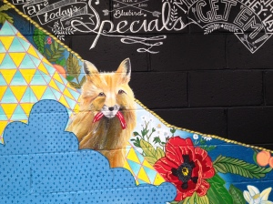 Mural at Ria's Bluebird by Lydia Walls: detail of fox